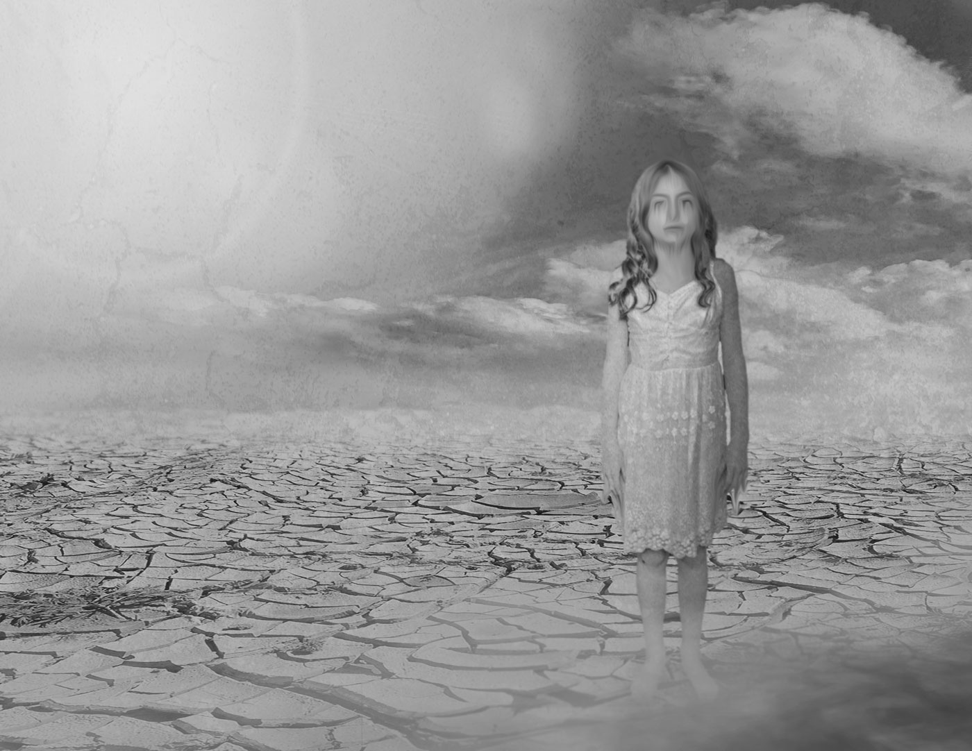 A girl with blurred eyes wearing a shift stands barefoot on a cracked, lifeless desert under a huge sun.