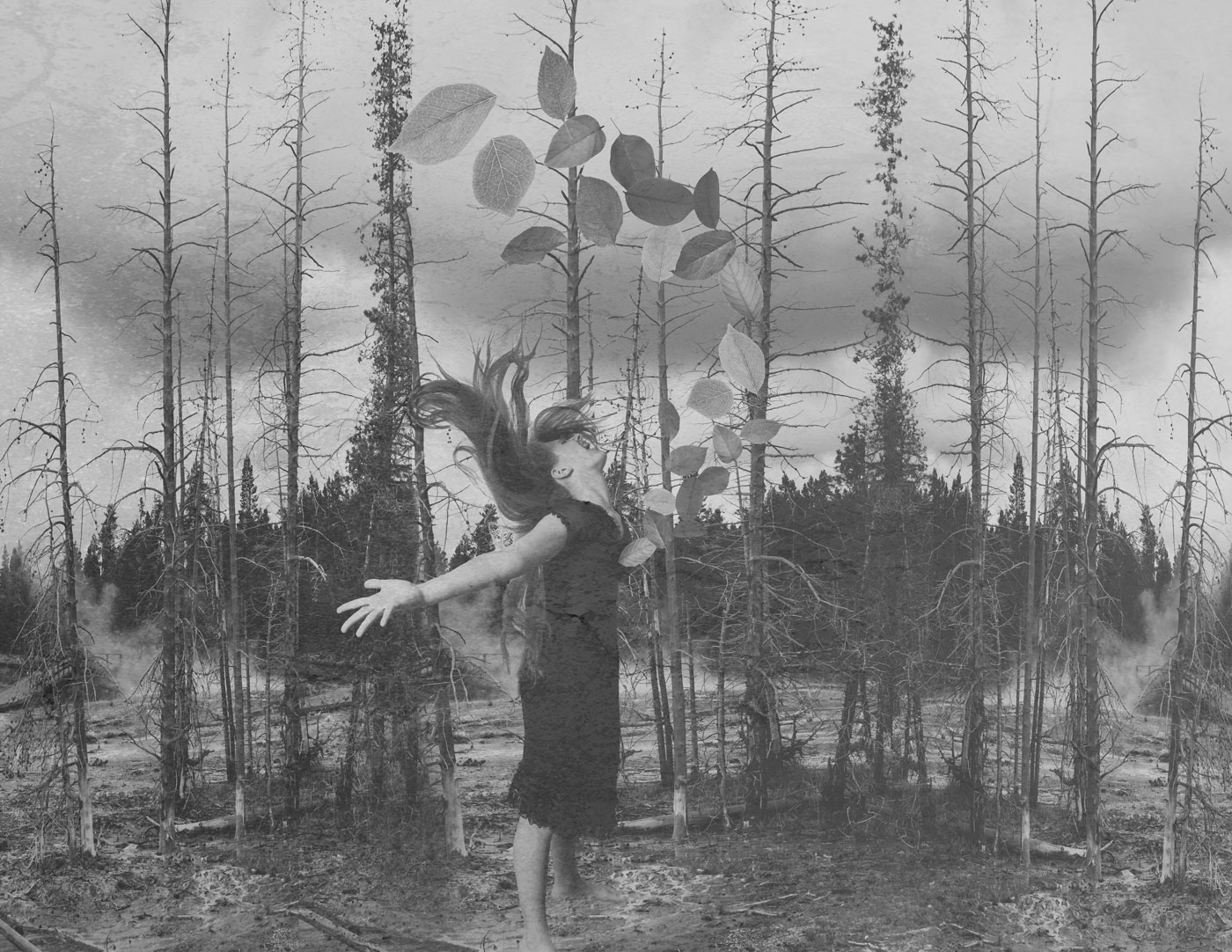 A girl standing among flooded saplings throws back her head, her hair flying, arms spread wide, as dozens of leaves burst from her chest.